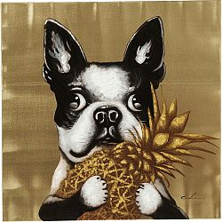 Obraz Kare Design Dog with Pineapple, 80 × 80 cm