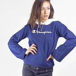 CHAMPION Tmavomodrá crop mikina Rochester Hooded Crop Sweatshirt – M