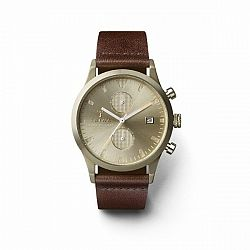 TRIWA Hodinky Sort of Black Champagne Chrono – Dark Brown Classic